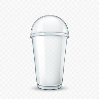 Coquetel de leite deliciosa bebida copo em branco vector