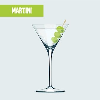 Coquetel de martini com azeitonas.