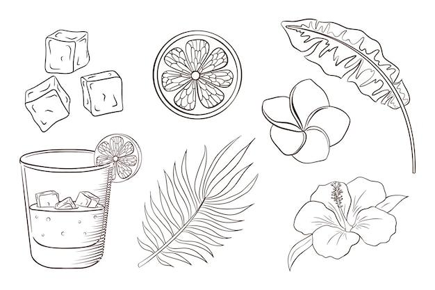 Coquetel de uísque e refrigerante, flores tropicais e página para colorir de folhas. conjunto de plantas e flores exóticas. banana e folhas de palmeira, rodelas de limão, cubos de gelo, flores de hibisco e plumeria. vetor premium