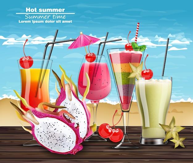 Coquetel de verão bebe banner realista