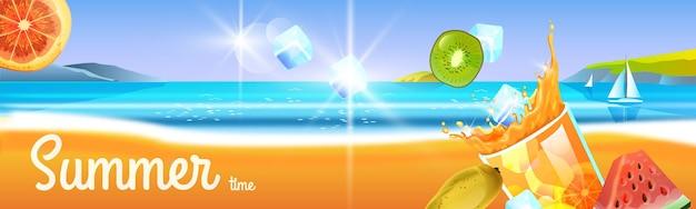 Coquetel de verão, copo de bebida gelada, frutas tropicais. paisagem de viagens na praia, gelo, barco