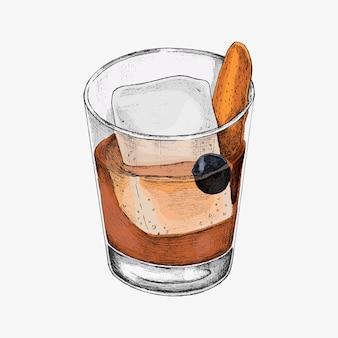 Coquetel desenhado à mão em um copo