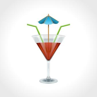 Coquetel e bebida isolado na ilustração vetorial branco