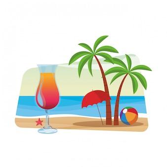 Coquetel e palmeira