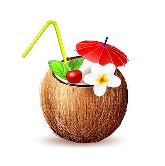 Coquetel fresco exótico de suco de coco de vetor em frutas com folha de plumeria cereja e hortelã