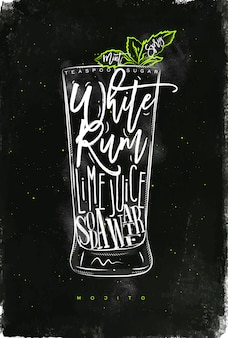 Coquetel mojito com letras, colher de chá de açúcar, rum branco, suco de limão, água com gás em estilo gráfico vintage, desenhado com giz e cor no fundo do quadro