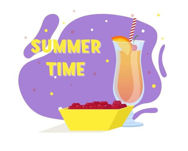 Coquetel tequila sunrise. bebida de verão. prato com cerejas. ilustração vetorial plana