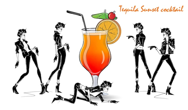 Coquetel tequila sunset. menina da moda no estilo de desenho com coquetel. ilustração vetorial