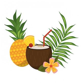 Coquetel tropical de coco
