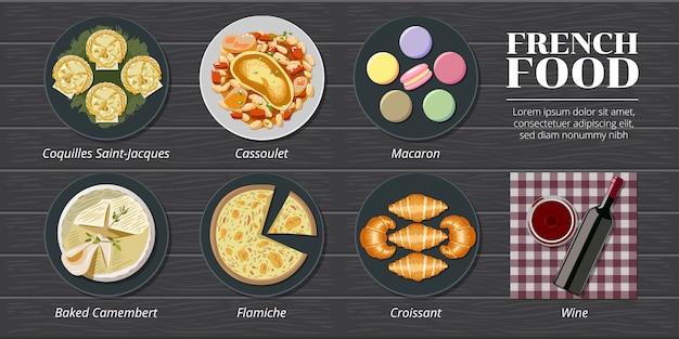 Coquille saint jacques, cassoulet, macaron, camembert assado, flamiche, croissant frança comida menu conjunto coleção