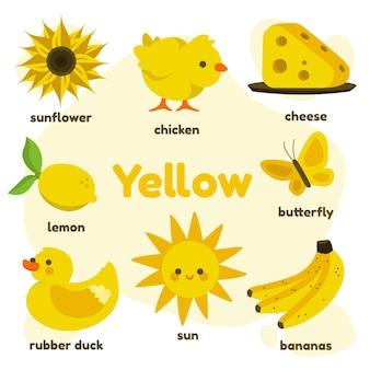 Cor amarela e vocabulário definido em inglês
