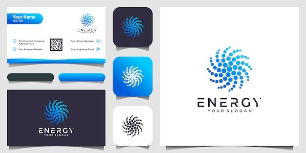 Cor azul abstrata de forma redonda, logotipo pontilhado de sol estilizado na ilustração de fundo branco. logotipo e cartão de visita