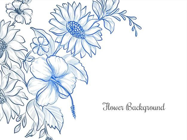 Cor azul desenho de fundo de flores desenhadas à mão
