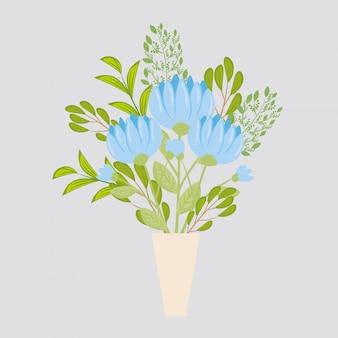Cor azul flores em vaso, galhos com folhas, decoração da natureza