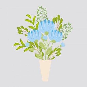 Cor azul flores em vaso, galhos com folhas