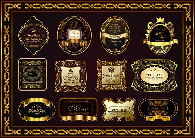 Cor bonita do ouro do projeto do quadro do certificado