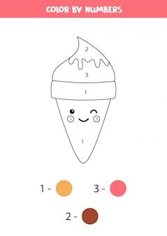 Cor bonito dos desenhos animados sorvete por números.