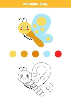 Cor borboleta bonito dos desenhos animados. planilha para crianças.