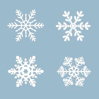 Cor branca ajustada do ícone do vetor do floco de neve. elemento de cristal liso da neve azul do natal do inverno.