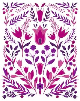 Cor brilhante da flor popular étnica em branco. composição especular de simetria. ornamento tradicional.