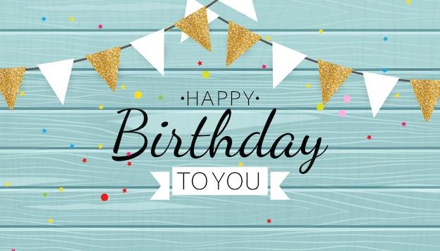 Cor brilhante feliz aniversário balões banner fundo ilustração