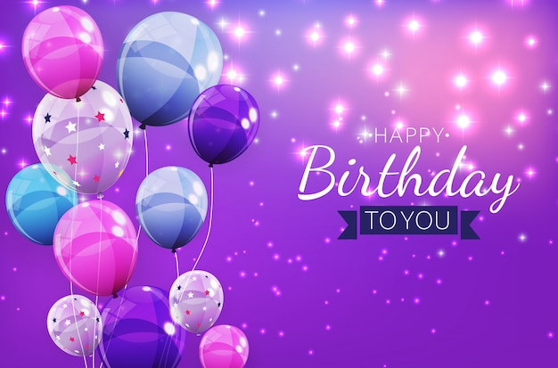 Cor brilhante feliz aniversário balões fundo ilustração