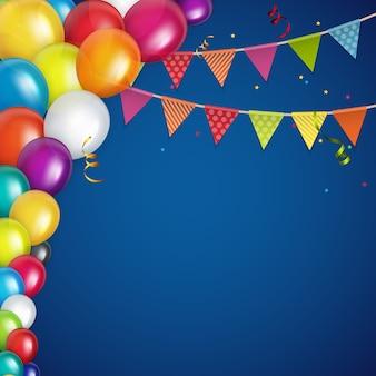 Cor brilhante feliz aniversário balões fundo