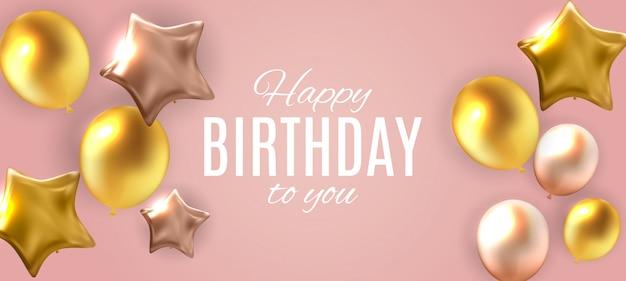 Cor brilhante feliz aniversário balões ilustração