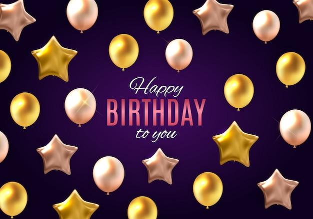 Cor brilhante feliz aniversário para você cartão com balões
