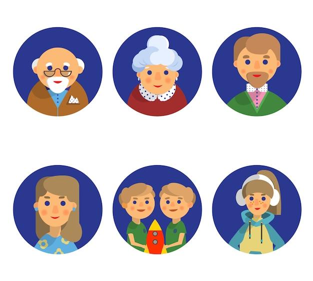 Cor conjunto de seis ícones de avatar