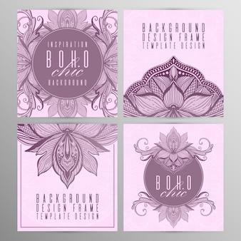 Cor cor-de-rosa do grupo de cartão dos lótus da mandala do vintage do vetor.