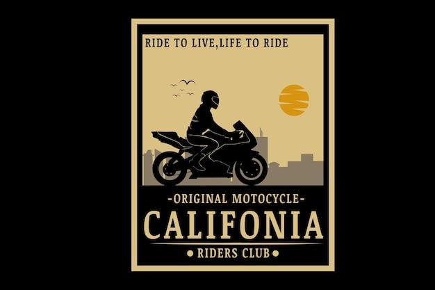 Cor creme original para motociclistas da califórnia