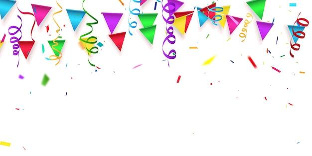 Cor da festa, modelo de design de conceito de confete feriado feliz dia, plano de fundo celebração