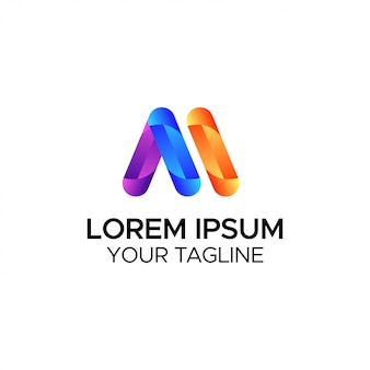 Cor da letra m do logotipo gradiente para negócios e branding