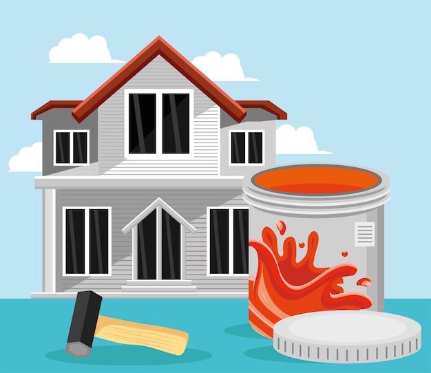 Cor da pintura da casa e martelo