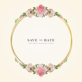 Cor de água rosa flor círculo quadro