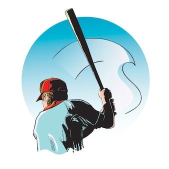 Cor de arte de linha de vetor de beisebol