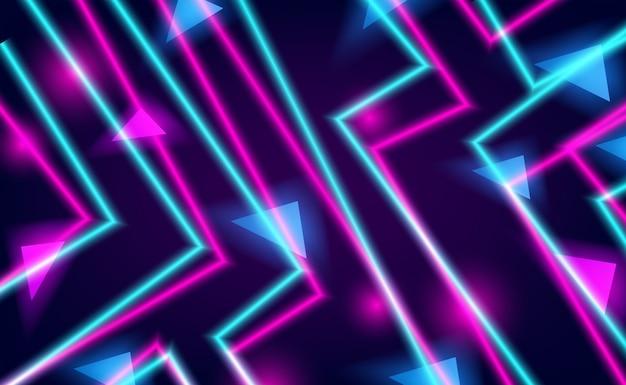 Cor de brilho neon rosa e ciano em linha reta para a vida noturna e fundo de tecnologia