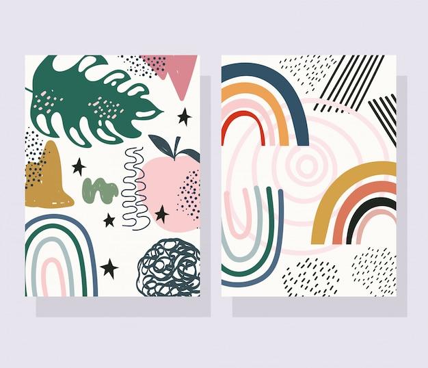 Cor de colagem de impressão contemporânea, moderna desenhada à mão deixa banners decorativos