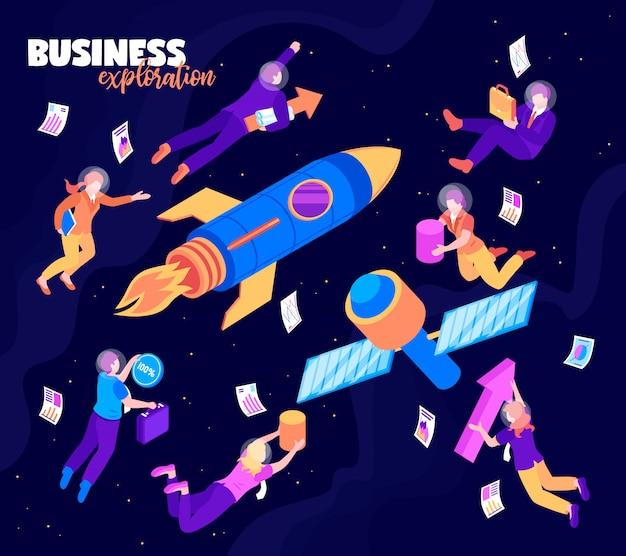 Cor de exploração de negócios com satélite foguete e pessoas voando no céu estrelado da noite isométrica