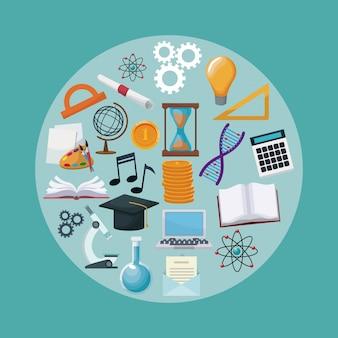 Cor de fundo com bolhas circulares com ícones de conhecimento