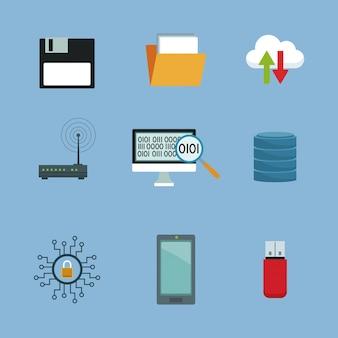 Cor de fundo com elementos configurados em nuvem e elementos de tecnologia