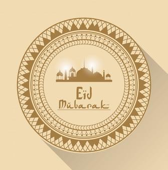 Cor de fundo com moldura arábica redonda geométrica com eid mubarak