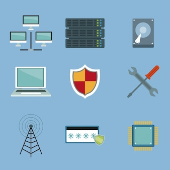 Cor de fundo com set elements server e tecnologia de rede