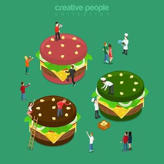 Cor de hambúrgueres planos isométricos