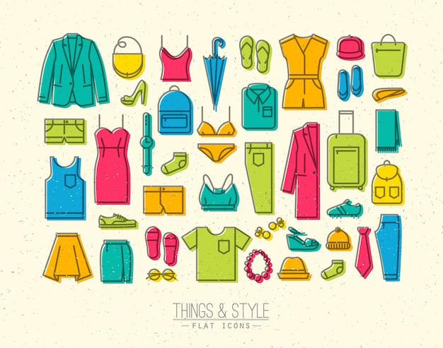 Cor de ícones de roupas planas