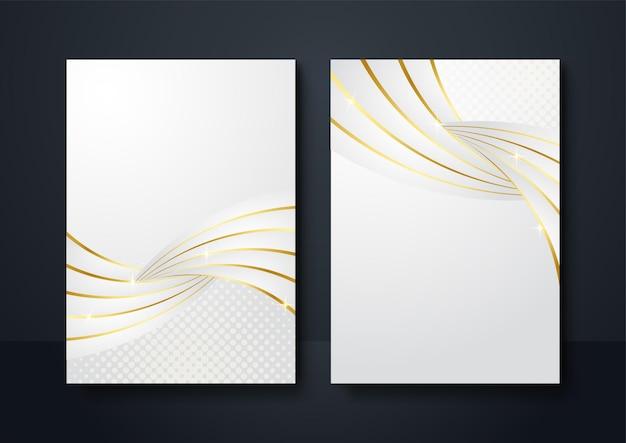 Cor de ouro branco de fundo de banner de mídia social. decoração abstrata, linhas douradas, gradientes de meio-tom, ilustração vetorial 3d. modelo de capa ondulada, formas geométricas, banner minimalista moderno