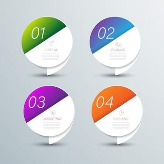 Cor de papel de origami de gráfico de marketing no modelo de informação-gráfico de vetor para gráfico de apresentação do diagrama e conceito de negócio com opções de 5 ou 6 elementos