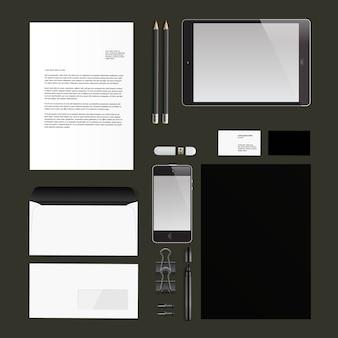 Cor de papelaria de negócios preto. maquete de identidade corporativa. ilustração vetorial