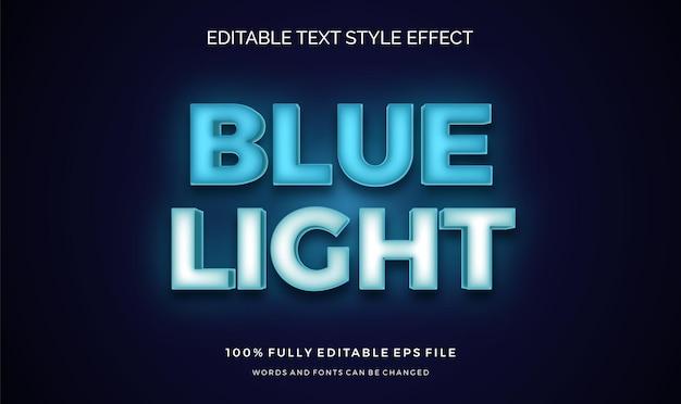 Cor de texto azul claro futurista. efeito de estilo de texto editável
